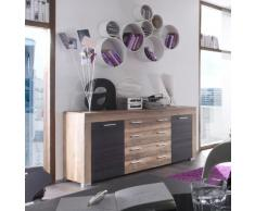 trendteam Wohnzimmer Sideboard Schrank Wohnzimmerschrank Boom, 176 x 79 x 40 cm in Nussbaum Satin Dekor mit viel Stauraum und vier Schubkästen