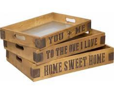 Tablett mit Aufschriften Tisch Knie Tablett Serviertablett Vintage Shabby Landhaus mit Aufschrift (TO THE ONE I LOVE Maße 49x31x7cm)