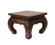 Opiumtisch Holzhocker Nachttisch Schemel 25 x 25cm Massiv Beistelltisch Hocker Holz Tisch Wohnzimmer Mahagoni