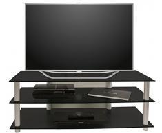 VCM TV Rack Lowboard Konsole LCD LED Fernsehtisch Möbel Bank Glastisch Tisch Schrank Aluminium Schwarzglas Netasa