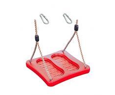 1 Stück h2i Kinder Fußschaukel Schaukelbrett Rot Schaukeln im Stehen mit Karabiner zum Einhängen