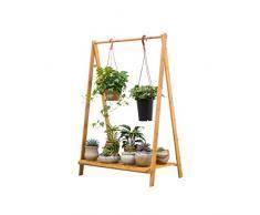 Flower Racks LUYIASI- Bambus Rattan Bodenständer 1 Tier Kreative Hängenden Bambus Wohnzimmer Falten Blume RackBalcony Wohnzimmer Blume Regal 70x38x98cm