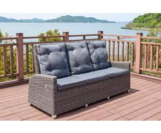 OUTFLEXX Dining 3-Sitzer Sofa, grau aus Polyrattan-Geflecht, 210x83x110 cm, mehrfach verstellbar, Dreisitzer Gartensofa