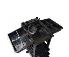Beistelltisch für Groomerzubehör auf Rollen schwarz 32x39x90 von Vivog
