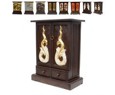 Schrank Kommode Flurschrank Schubladenschrank Telefonschrank Holzschrank Diele etwa 70cm hoch Akazienholz Holz Dunkelbraun Gold Natur