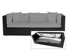OUTFLEXX Lounge-Sofa, Dreisitzer aus schwarzem Polyrattan, 210x85x70cm, inkl. Wasserabweisende Polster + Kissenboxfunktion, hochwertige Polyrattan Bank/Garten-Couch, wetterresistent, UV-beständig