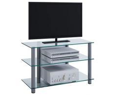 VCM 14120 TV Rack Lowboard Schrank Konsole Fernsehtisch Möbel Bank Glastisch Tisch Aluminium / Klarglas Sindas