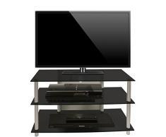 VCM TV Rack Lowboard LCD LED Konsole Fernsehtisch Möbel Bank Glastisch Tisch Schrank Aluminium / Schwarzglas Sindas