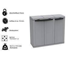 Kreher XXL Gartenschrank, Müllbox mit 3 Türen und Halterung für Müllsäcke. Aus Kunststoff in Grau. Mit Deckel und Türen. Praktisch und Preiswert.