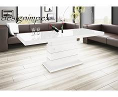 Design Couchtisch H-333 Weiß Hochglanz höhenverstellbar ausziehbar Tisch