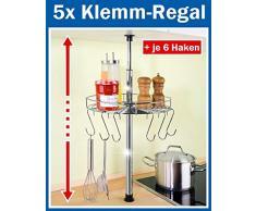 5 x WENKO Teleskop-Rundregal - inl. 6 Haken - Küchenregal rund 30 cm - Klemmregal - Teleskop Regal für Küche - Ablage für Küchenhelfer