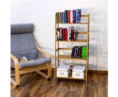 Relaxdays Bücherregal aus Bambus mit 4 Ablagen HxBxT: ca. 120 x 57 x 31 cm Regal für Bücher in Leiterform Standregal mit Durschubsicherung als Bücherschrank und Büroregal Aktenregal aus Holz, natur