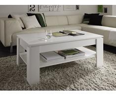 Trendteam Couchtisch Wohnzimmertisch Universal, 110 x 47 x 65 cm in Weiß mit Ablageboden
