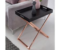 WOHNLING Beistelltisch TV-Tray zusammenklappbar 48 x 61 x 34 cm schwarz/Kupfer MDF   Design:ohnzimmertisch mit Tablett Kaffeetisch modern   Tabletttisch Holz