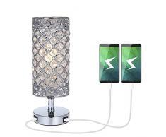 Kristall Tischlampe Tischleuchte mit 2 USB-Anschlüssen,Tomshine Nachttischlampe,Tischleuchte mit K5-Kristall für Wohnzimmer,Schlafzimmer,Esszimmer