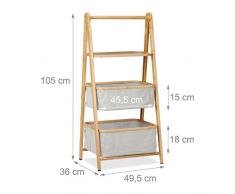 Relaxdays Klappregal Bambus mit 3 Ebenen, Ablage & Stoffkörbe, Korbregal faltbar, Holz, HBT: 105x49,5x36 cm, natur/grau