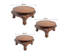 Oriental Galerie Opiumtisch Tisch Beistelltisch Massiv Holz Couchtisch Rund Natur Thailand, Größe:40cm Ø. 21cm - ca. 5Kg, Farbe:Hell Braun