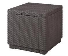 Allibert Kunststoff Hocker, Garten, Sitzwürfel mit Kissen, Cube, braun,