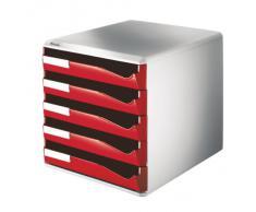 Leitz 52800025 Schubladenset Post-Set, 5 Schubladen, lichtgrau/rot