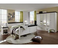 SAM 4-TLG. Schlafzimmer-Set, Holzbett 180 x 200 cm, 2 x Nachtkommode + Kleiderschrank, Kiefer massiv, White wash/kolonial