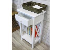 My Flair Telefontisch / Beistelltisch / Konsole antik weiß, Landhausstil mit Shabby-Chic-Look, 0853DF
