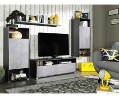 CS Schmal Wohnwand mit Standschrank, Wandboard, Hängeschrank und TV-Lowboard Beton/Graphit