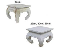 Opiumtisch Weiß - 40cm Beistelltisch Tischchen Hocker Blumenhocker Akazienholz asiatischer kleiner Tisch
