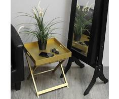 Serviertisch 38x38x45cm Serviertablett mit Gestell Beistelltisch Tabletttisch Wohnzimmertisch Couchtisch Nachttisch - Gold