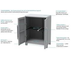 Gartenschrank aus Kunststoff. Mit modularen Böden, abschließbaren Türen und Metallscharnieren. IP43 geprüft in 3 verschiedenen Größen. (M)