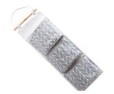 ODN Hängeorganizer,Hängende Tasche Aufbewahrungstasche 3 Pouch Organizer Wandtasche Faltbar Tasche (Grau)
