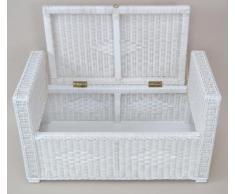 Sitztruhe Truhe Sitz Sitzkissen Wäschetruhe Rattantruhe Kissen massiv weiß