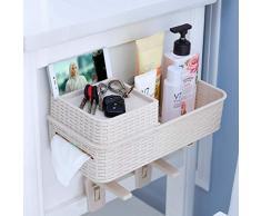 Multifunktionsbad stanzfreie mehrschichtige Wäscheständer Toilettenständer Nachahmung Rattanregal Bad Ablage @ weiß