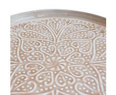 Beistelltisch Tabletttisch rosa nude weiß Metall mit Ornamenten Exner (40 cm D)