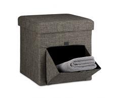 Relaxdays Faltbarer Sitzhocker, Leinen, Sitzwürfel, Aufbewahrungsbox mit Klappe, Abnehmbarer Deckel, Sitzcube, Stabil, Fußablage, HxBxT 38 x 38 x 38 cm, Braun