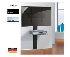 VCM Hifi TV Wandhalterung Halterung Träger Receiver Player VESA Schwarz / klarglas Trento