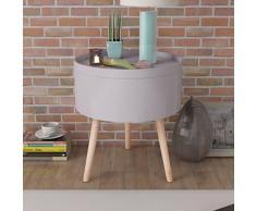 Festnight Beistelltisch Couchtisch mit Serviertablett Holztisch Rund Tischplatte 39,5x44,5cm als Telefonständer Kaffeetisch Wohnzimmertisch Tabletttisch - Grau