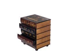 Kleinmöbel, HY1G018 Kommode, schweres Regal im Buchlook, Teeschrank, Holz Telefontisch, Kommode, jedes Buch ist eine Schublade, 5 Schubladen, Flurkommode, Tisch, im Vintage Shaby Look, Antikoptik, Holz, Maritim, Deko, Hochwertig,