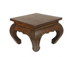 Oriental Galerie Opiumtisch Opium Tisch Beistelltisch Massiv Holz Couchtisch Nachttisch Hocker - 30 cm Dunkelbraun