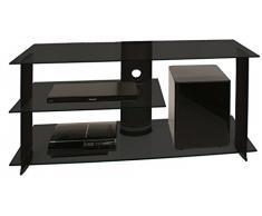 VCM TV Rack Lowboard Konsole Fernsehtisch LCD LED Möbel Bank Glastisch Tisch Schrank Aluminium Glas Schwarz Subuso
