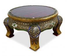 livasia Runder Opiumtisch, Beistelltisch aus Massivholz, Glasmosaiktisch der Marke Asia Wohnstudio, Couchtisch, Nachttisch