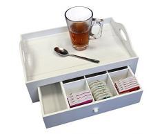 Serviertablett mit Schublade, MDF, Weiß, Landhaus-Stil, 30x12x20cm - Tabletttisch Teebox Frühstückstablett Betttablett