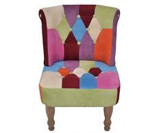 vidaXL Französischer Stuhl Patchwork-Design Sessel Polstersessel Relaxsessel