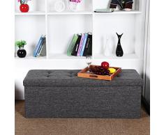 Songmics Stizbank Truhen Hocker 3-Sitzer mit Stauraum belastbar bis 300 kg leinen dunkelgrau 110 x 38 x 38 cm LSF77K
