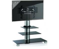VCM TV Standfuß Rack Lowboard Konsole Fernsehtisch Möbel Glas Tisch VESA Universal Schwarzglas inkl. Rollen Amalo Maxi