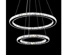 HJ® 78W 2 Ringe LED Deckenleuchte Kristall Dimmbar Deckenlampe Wohnraum  Hängeleuchte Pendelleuchte Mit Fernbedienung Wohnzimmer