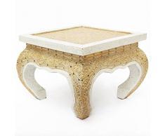 Opiumtisch Tisch Beistelltisch Massiv Holz Couchtisch Nachttisch Rattan Antik, Farbe:Weiss Antik - Rattan;Größe:30x30x24cm (LxBxH)