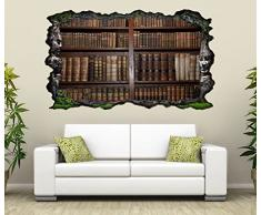 3D Wandtattoo alte Bücher Buch Regal antik Bibliothek selbstklebend Wandbild sticker Wohnzimmer Wand Aufkleber 11K143, Wandbild Größe F:ca. 97cmx57cm