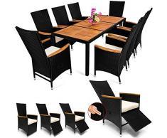 Deuba Poly Rattan Sitzgruppe 7cm Auflagen Fuß-/Rückenlehne Verstellbar 8 Stühle Gartentisch Armlehnen Holz Gartenmöbel