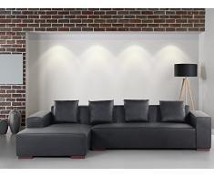 Sofa Schwarz - Couch - Ecksofa R - Sofalandschaft - Sofagarnitur - Ledersofa - LUNGO