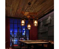 Vintage Kronleuchter Retro Industrial Pendelleuchte Hängeleuchte E27 Holz Metall Pendellampe für Wohnzimmer Esszimmer Restaurant Keller Cafe Bar (3 * E27 Lampenfassung)